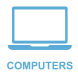 Computer and laptop shop icon in blue