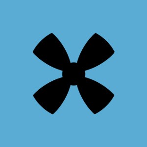 drone propeller icon on a blue background